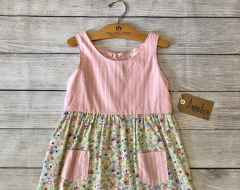 Size 8 Fit and Flare, cotton, floral and stripes Dress with pockets- Annalise