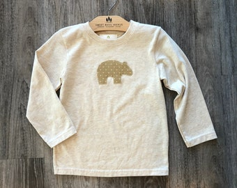 3T Cream, Long Sleeve T- shirt w/ Bear applique