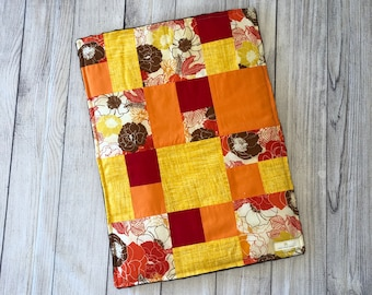 Diaper Changing Pad- Fall colored Florals and Brown minky back