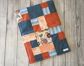 Diaper Changing Pad- Coral and Blue floral with blue back