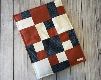 Diaper Changing Pad- Burnt Orange, Polka dot chambray and with soft linen back.