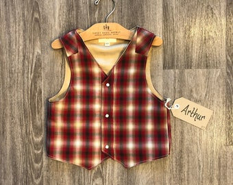 5T Pearl Snap Button Vest- Arthur