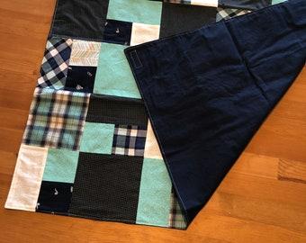 Stroller Blanket/Floor Quilt- Navy and Teal Patchwork