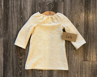 2T Peasant Style, Cream Lace Dress with Long Sleeves- Lela