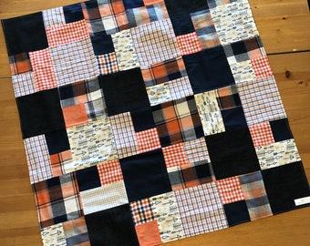 Stroller Blanket/Car seat Blanket/Baby Blanket- Navy and Orange with arrows
