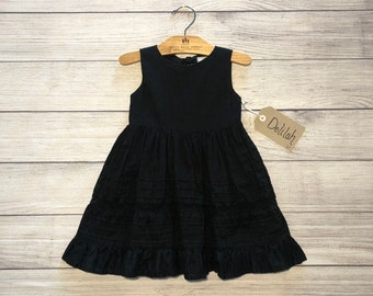 3T Fit and Flare, black eyelet dress with tie back- Delilah