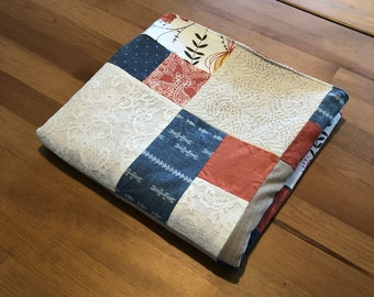 Toddler-sized Blanket/Floor quilt- chambray, burnt orange, tan and white