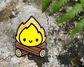 Campfire Enamel Pin with Locking Back