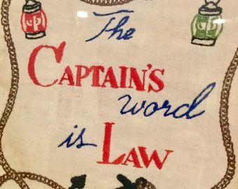 Vintage Framed Embtoidered Motto Nautical Style