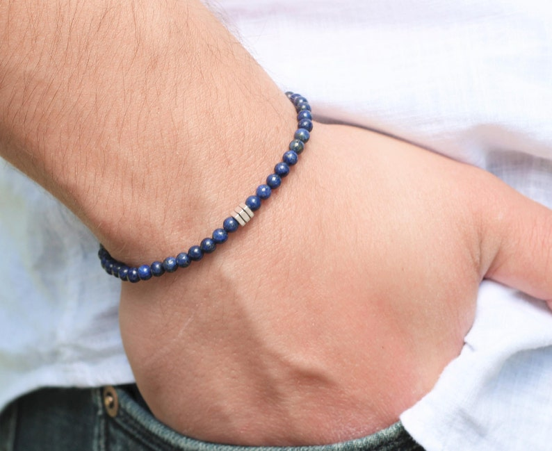 Men's Bracelet Lapis Lazuli on Slim Bracelet Stacking image 0