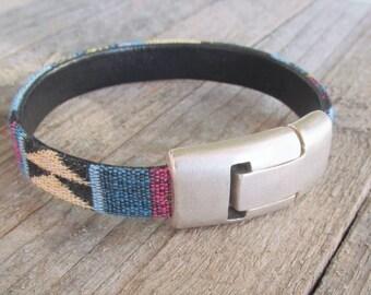 Mens Bracelet Vegan  Vegans Mens Cotton Eco-Leather Bracelet  Vegan Gift
