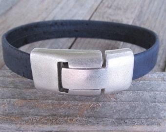 Vegan Men's Bracelet Christmas Gift for Vegans Vegan  Mens Blue Cork Leather Bracelet Faux Leather Bracelet Wrap Bracelet Vegan
