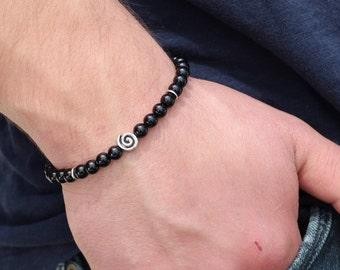 Men's Beaded Bracelet Black Onyx  Beaded Bracelet Mens Beaded Bracelet  Bracelet Mens  Gift Men  gift