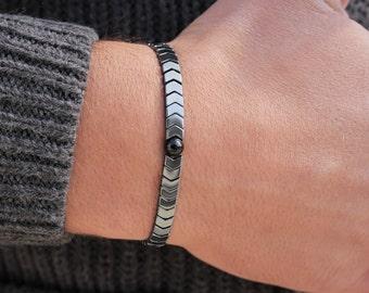 Men's Bracelet Hematite Mens Beaded Bracelet  Gift for  Bracelet for Men Bracelet for  Gift   Gift for Her