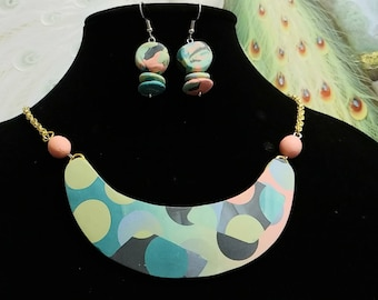 Geo-Floral Necklace and Earring Set #933; Bib Necklace Set in Polymer Clay