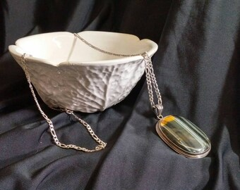 Labradorite Pendant #826; Featured Item for this month; superb natural stone in sterling silver setting; sterling chain