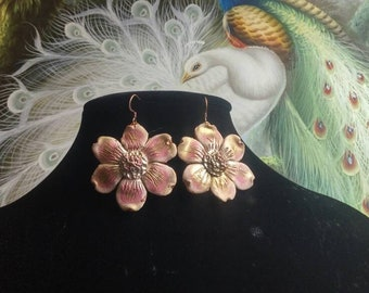 Floral Theme Earrings #926; Polymer Clay Flower Replica Earrings; Pink Floral Earrings