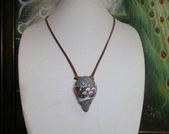 BANDED MOKUME LAVA Pendant and Bracelet Set #923; Unique Polymer Clay Pendant; Crystal Bracelet; Distinctive Necklace and Bracelet Set