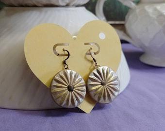 FAUX SILVER ANTIQUE Medallion Earrings #928; Round Drop Earrings