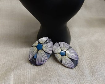 FLORAL CANE EARRINGS #973; Unique Polymer Clay Earrings, Classic Floral Style