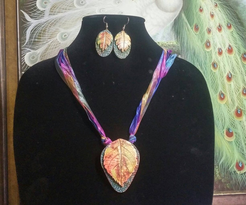 Rich Colors of Autumn Set #931; Polymer Clay On Silk Cord; Necklace and Earring Set; One of a kind