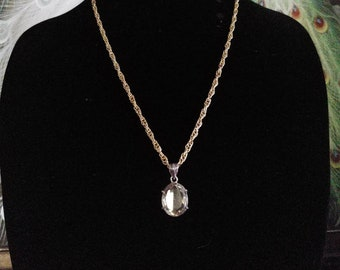 LEMON QUARTZ PENDANT #933; Traditional Cut Oval Pendant; Semi-precious Gemstone Necklace; Natural Stone Pendant