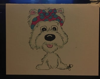 Westie with a headband  pack 10