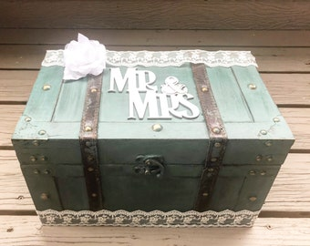 Wedding Trunk, Wedding Card Box, wedding chest, wedding card holder, wedding money holder, rustic wedding, envelope box, money card box