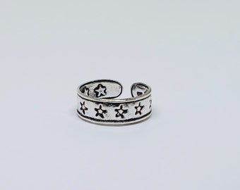 Star Sterling  Silver Toe Ring, Boho Ring, Adjustable Ring, Sterling Silver Jewelry