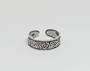 Flower Floral Rose Oxidized Sterling Silver Toe Ring, Boho Ring, Adjustable Ring, Sterling Silver Jewelry