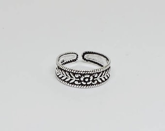 Flower Floral Oxidized Sterling Silver Toe Ring, Boho Ring, Adjustable Ring, Sterling Silver Jewelry
