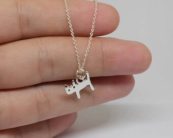 Tiny Cat Sterling Silver Necklace, Minimal Necklace, Basic Simple Necklace, Silver Necklace, Sterling Silver Jewelry