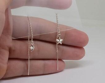 Threader with Star Sterling Silver Earrings, Basic Simple Everyday Earrings, Dainty Earrings, Sterling Silver Jewelry