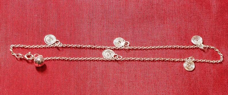 Delicate Anklet Dainty Anklet Spiral Sterling Silver Anklet Sterling Silver Jewelry