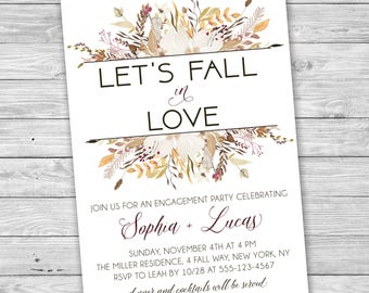 Let's Fall In Love Engagement Party Invitation, Rustic Engagement Party, Printable Invitation, Rustic Engagement Party, Fall, Autumn, Love