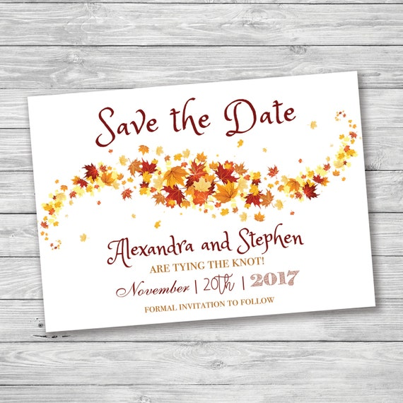 fall autumn leaves save the date fall save the date falling etsy
