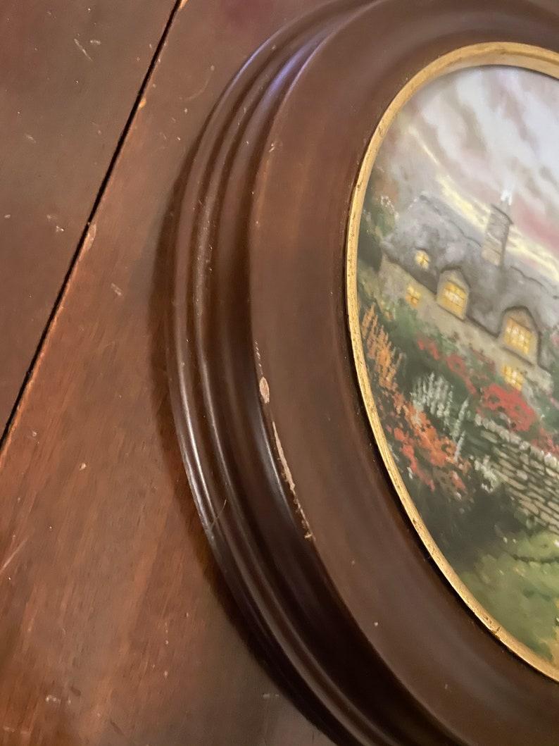 Vintage 1991 Thomas Kinkade Plate Garden Cottages of England Series Open Gate Cottage Wooden Frame