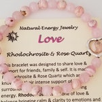 Empowering Love Anklet of Rose Quartz & Rhodochrosite Stone Beads offers Loving Energy and Strength 356