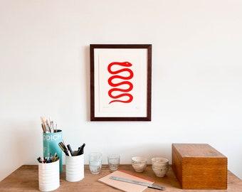 Framed Scarlet Snake Print (Small)