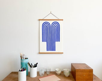 Blue Fountain Print with Teakwood Hanger (Large)