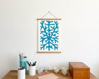 Blue Coral Print with Teakwood Hanger (Large)