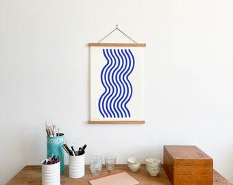 Blue River Print with Teakwood Hanger (Large)