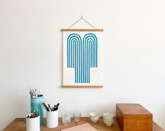 Turquoise Fountain Print with Teakwood Hanger (Large)