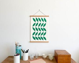 Green Leaves Print with Teakwood Hanger (Large)