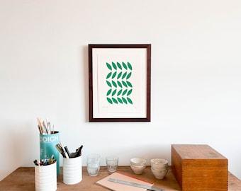 Framed Green Leaves Print (Small)