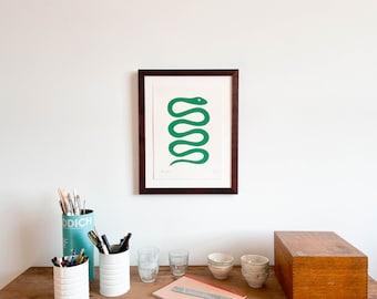 Framed Green Snake Print (Small)