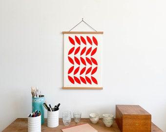 Scarlet Leaves Print with Teakwood Hanger (Large)
