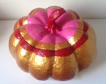 Pumpkin pumpkin paper mache box gilded them concupiscentes melon