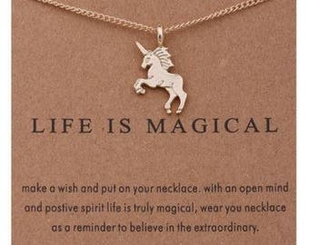 Golden Unicorn Necklace with Message