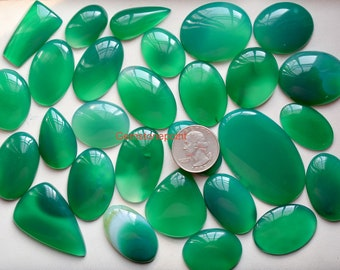 Details about  /SALE! Natural Green Onyx 12x16 mm Oval Cabochon loose Gemstone BIG Mix